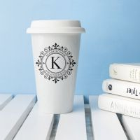 Personalised Monogrammed Ceramic Travel Cup / Mug - ideal gift for the one you love for any occasion